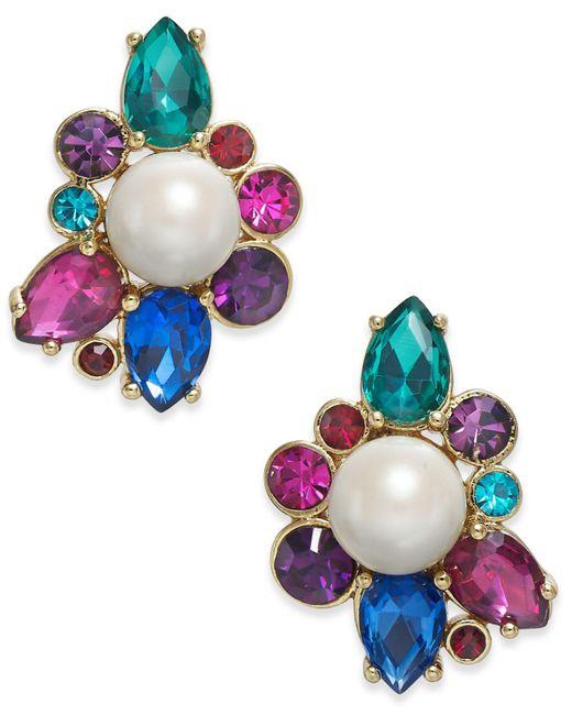Kate Spade - Multicolor Gold-tone Crystal & Imitation Pearl Stud Earrings - Lyst