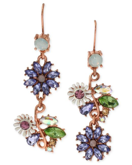Betsey Johnson | Multicolor Xrose Gold-tone Faceted Bead Flower Mismatch Drop Earrings | Lyst