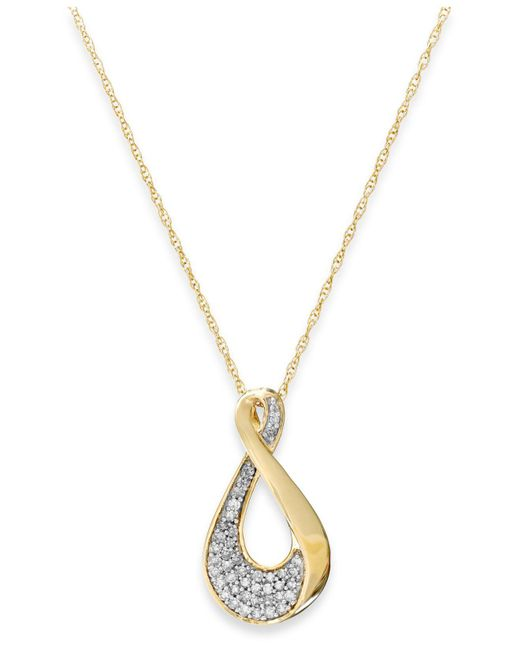 Macy's | Metallic Diamond Infinity Pendant Necklace In 10k Gold (1/5 Ct. T.w.) | Lyst