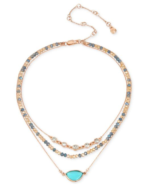 Kenneth Cole | Metallic Gold-tone Multi-stone & Bead Triple-row Choker Necklace | Lyst