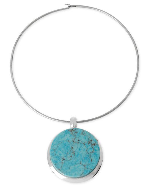 Robert Lee Morris | Blue Silver-tone Semi-precious Turquoise Pendant Wire Necklace | Lyst