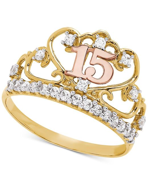 Macy's - Metallic Cubic Zirconia Quinceañera Ring In 14k Gold, Rose Gold & Rhodium-plate - Lyst