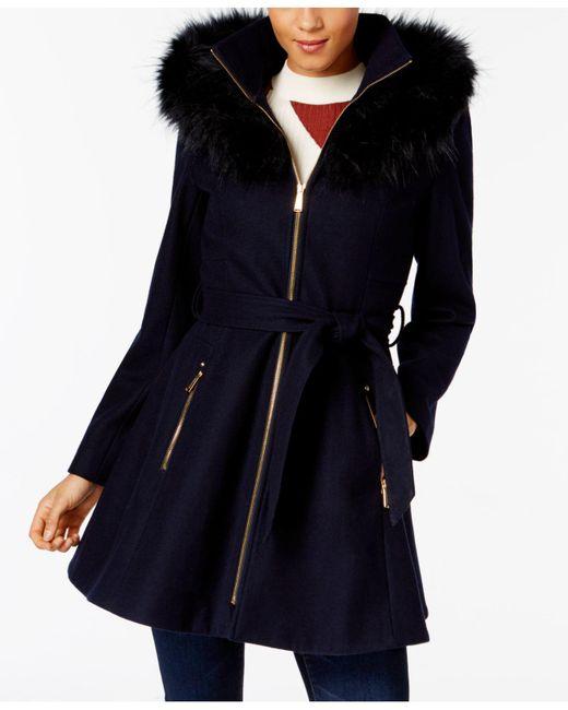 Laundry by Shelli Segal | Blue Faux-fur-trim Skirted Coat | Lyst
