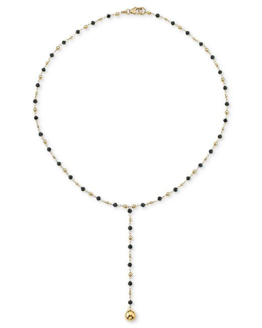 """Macy's - Metallic Cultured Freshwater Pearl (3mm) 18"""" Lariat Necklace In 18k Gold-plated Sterling Silver (also In Black Spinel) - Lyst"""
