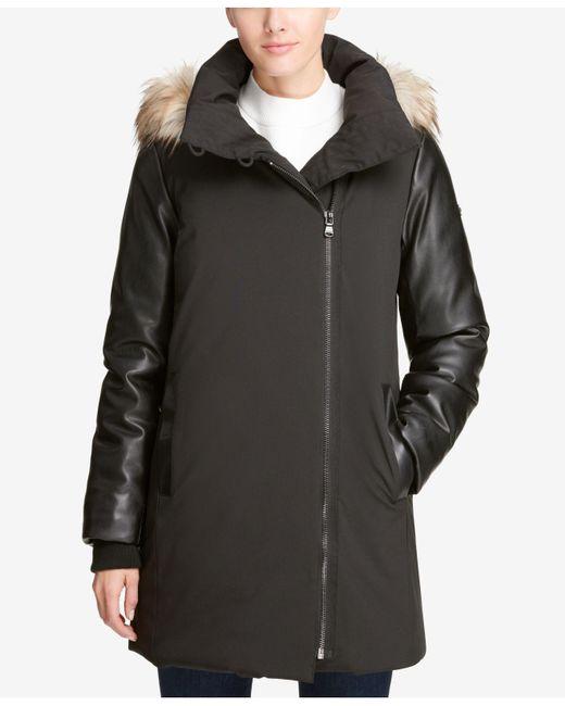 DKNY - Black Hooded Mixed-media Puffer Coat, Created For Macy's - Lyst