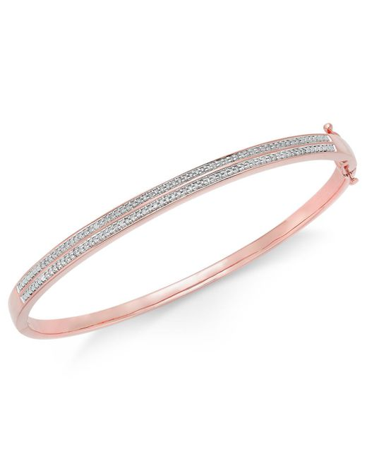 Macy's | Metallic Diamond Pavé Bangle Bracelet (1/4 Ct. Tw.) In 14k Gold Over Sterling Silver | Lyst