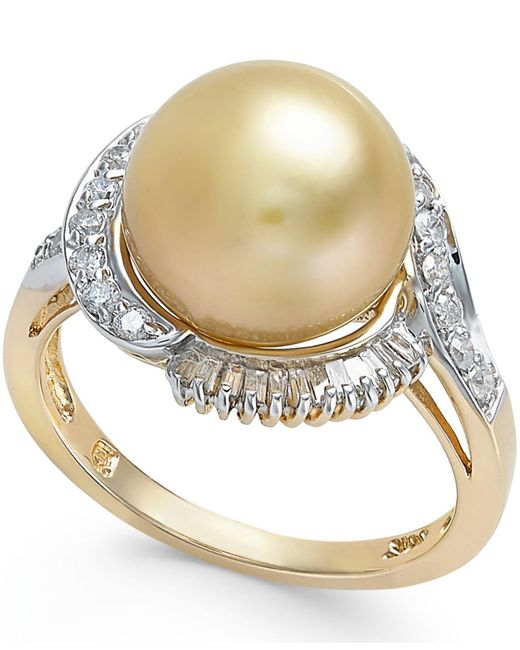 Macy's | Metallic Cultured Golden South Sea Pearl (11mm) And Diamond Ring (1/2 Ct. T.w.) In 14k Gold | Lyst