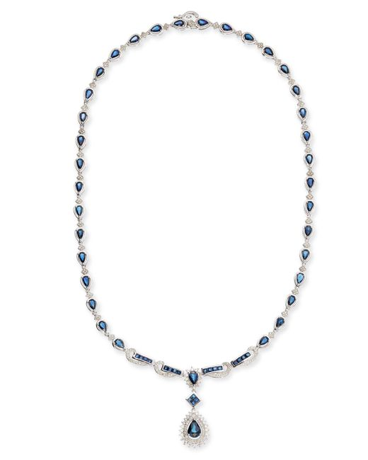 Macy's - Metallic Sapphire (13-1/2 Ct. T.w.) And Diamond (1-1/5 Ct. T.w.) Fancy Collar Necklace In 14k White Gold - Lyst