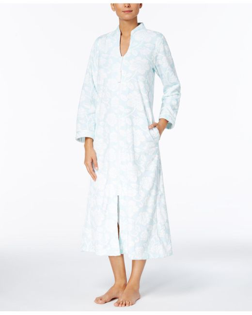 Charter Club | White Textured Zip-front Long Robe | Lyst
