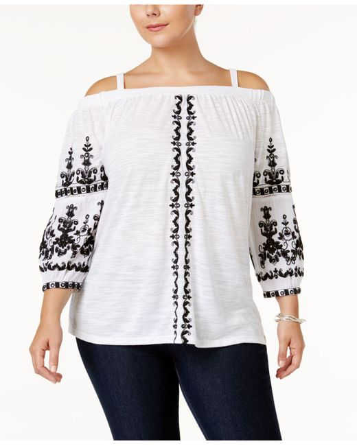 INC International Concepts | White Plus Size Embroidered Off-the-shoulder Top | Lyst