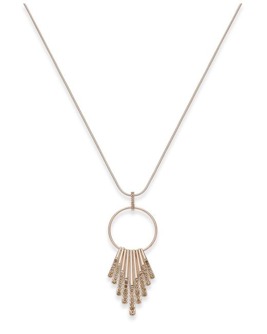 INC International Concepts | Metallic Rose Gold-tone Pink Pavé Circle & Shaky Sticks Pendant Necklace | Lyst