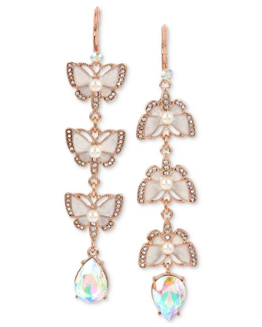 Betsey Johnson - Metallic Rose Gold-tone Crystal & Imitation Pearl Butterfly Mismatch Earrings - Lyst