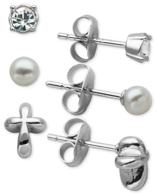 Macy's   Metallic 3-pc. Set Cubic Zirconia Stud Earrings In Sterling Silver   Lyst