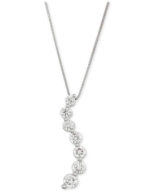 Macy's - Metallic Diamond Curve Pendant Necklace (1 Ct. T.w.) In 14k White Gold - Lyst