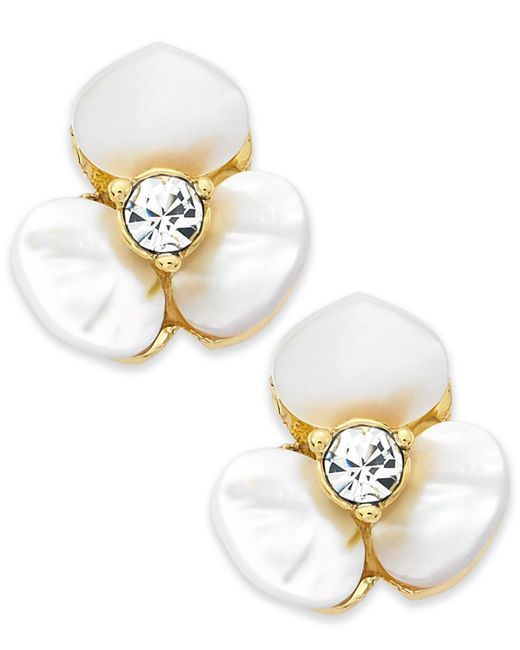 Kate Spade - Metallic Earrings, Gold-tone Cream Disco Pansy Flower Stud Earrings - Lyst