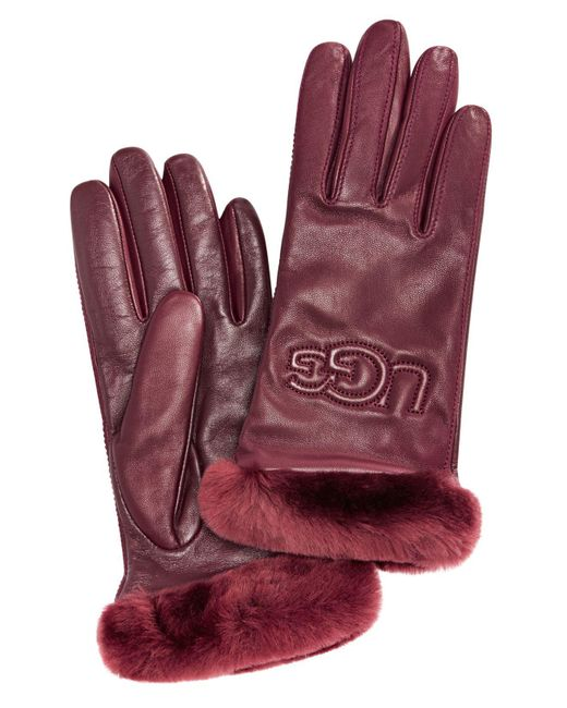 Ugg - Red Classic Leather & Shearling Smart Gloves - Lyst