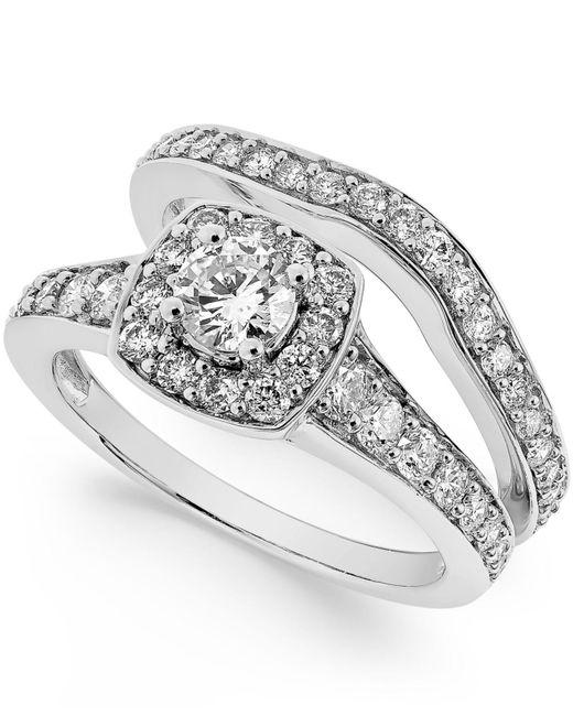 Macy's | Metallic Diamond Frame Bridal Set (1-1/4 Ct. T.w.) In 14k White Gold | Lyst