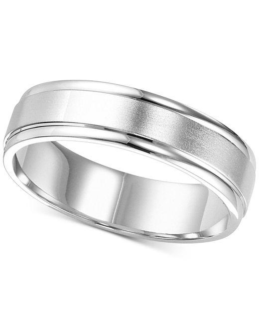 Macy's - Satin Finish Edged Wedding Band In 14k White Gold - Lyst