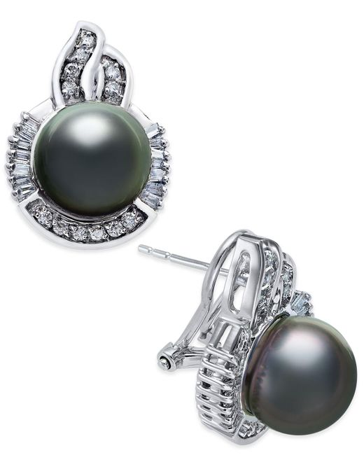 Macy's   Metallic Cultured Tahitian Pearl (10mm) And Diamond (5/8 Ct. T.w.) Stud Earrings In 14k White Gold   Lyst