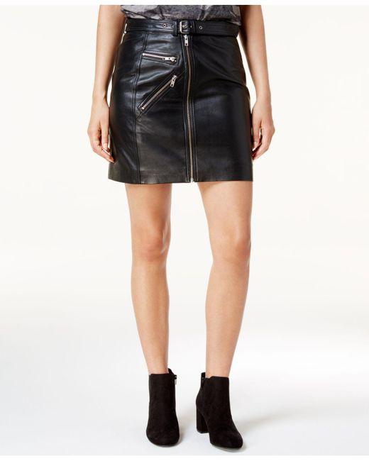 Lucky Brand | Black Leather Moto Skirt | Lyst