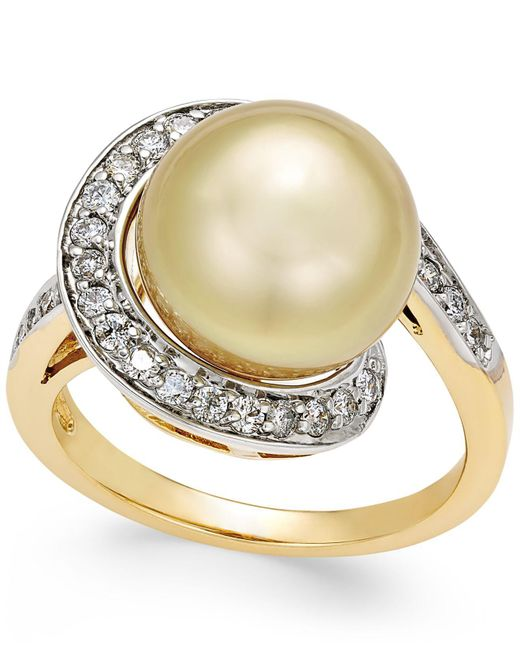 Macy's | Metallic Cultured Golden South Sea Pearl (11mm) And Diamond (3/8 Ct. T.w.) Swirl Ring In 14k Gold | Lyst