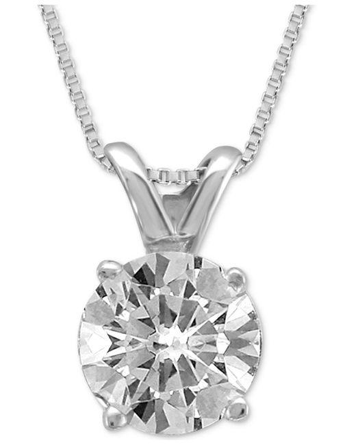 Macy's   Metallic Diamond Solitaire Pendant Necklace (3/4 Ct. T.w.)   Lyst