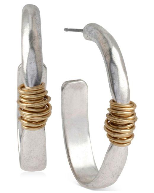 Robert Lee Morris - Metallic Medium Two-tone Wire-wrapped Oval Hoop Earrings - Lyst