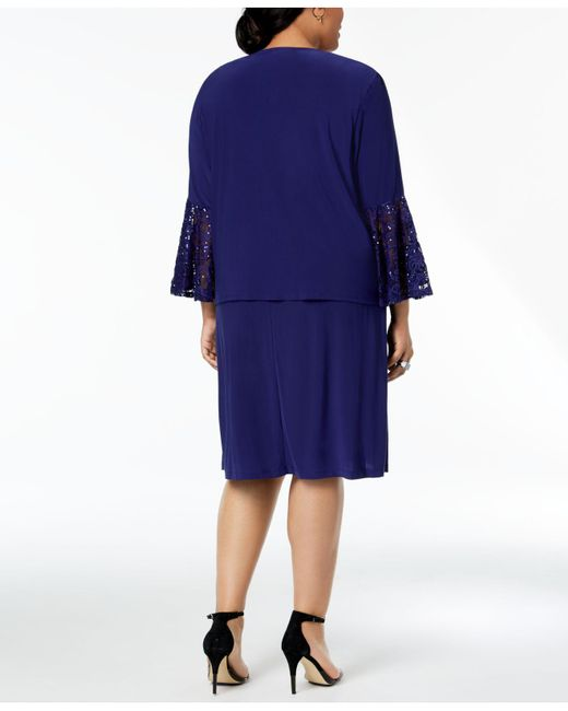 Lyst R M Richards Plus Size Lace Trim Dress And Jacket In Blue