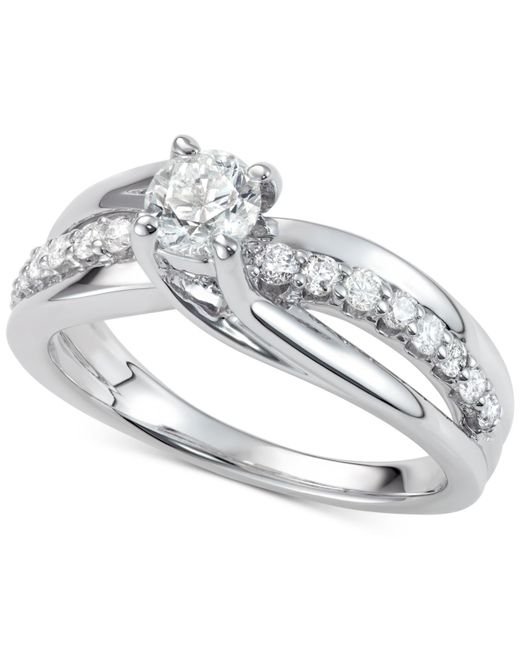 Macy's - Metallic Diamond Elevated Twist Engagement Ring (7/8 Ct. T.w.) In 14k White Gold - Lyst