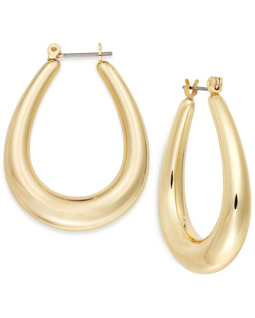 Charter Club - Metallic Gold-tone Oval Hoop Earrings - Lyst