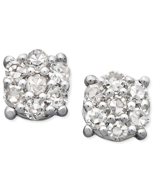 Macy's - Metallic Diamond Cluster Stud Earrings In 14k White Gold (1/10 Ct. T.w.) - Lyst