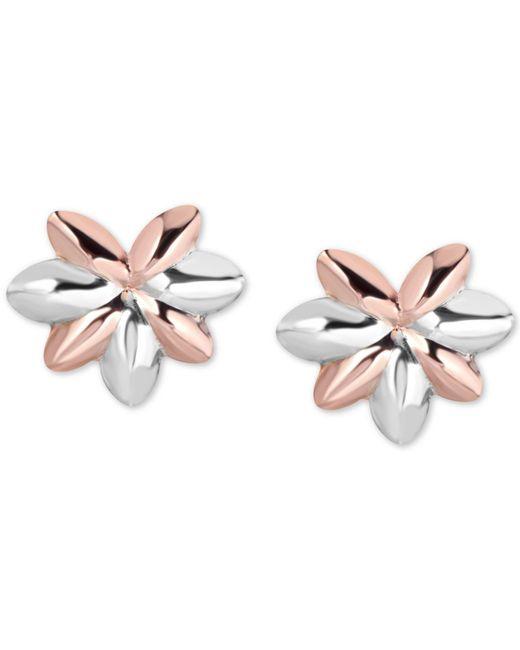Macy's - Metallic Tricolor Flower Stud Earrings In 10k Gold, White Gold & Rose Gold - Lyst