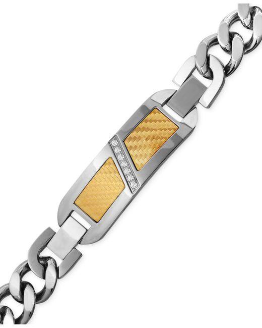 Macy's - Metallic Men's Diamond (1/10 Ct. T.w.) Decorative Plate Heavy Link Bracelet In Stainless Steel With 18k Gold Inlay - Lyst