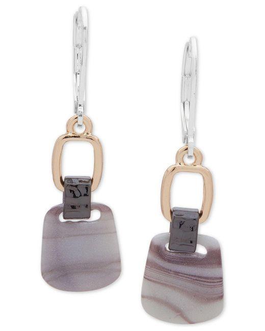 Nine West - Gray Tri-tone & Stone Double Drop Earrings - Lyst