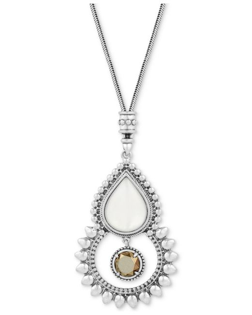 Lucky Brand - Metallic Silver-tone White & Brown Stone Pendant Necklace - Lyst