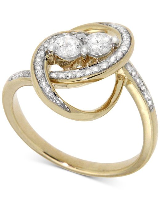 Wrapped in Love - Metallic Diamond Two-stone Oval Ring (1/2 Ct. T.w.) In 14k Gold - Lyst