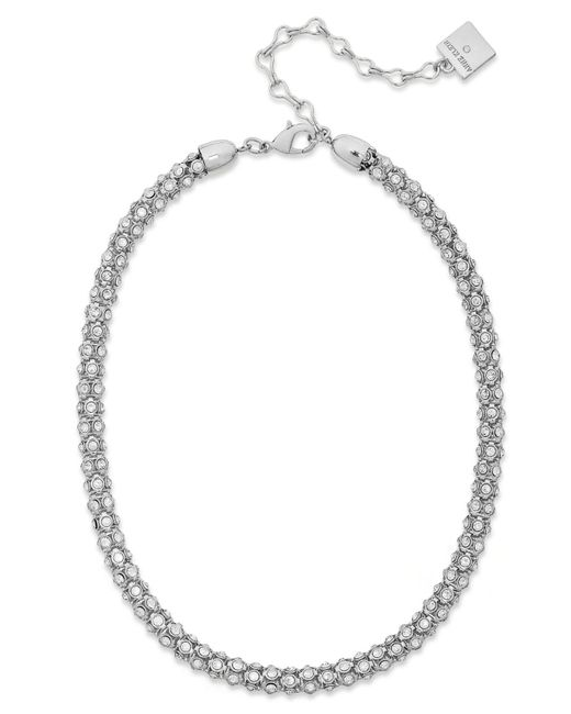 Anne Klein | Metallic Silver-tone Pave Accent Tubular Collar Necklace | Lyst