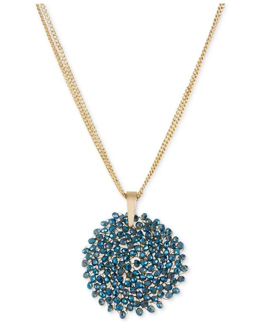 Kenneth Cole | Blue Necklace, Gold-tone Woven Faceted Bead Pendant Necklace | Lyst