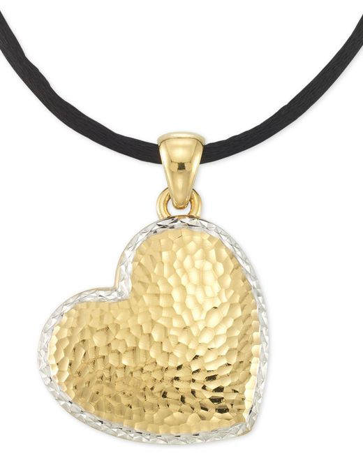 "Signature Gold - Metallic Tm Textured Reversible Silk Cord Heart 18"" Pendant Necklace In 14k Gold Over Resin Core - Lyst"