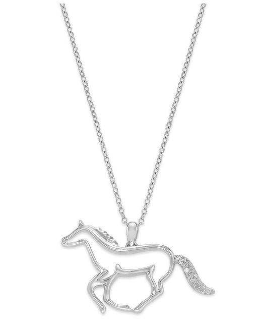 Macy's   Metallic Aspca Tender Voices Sterling Silver Necklace, Diamond Accent Running Horse Pendant   Lyst