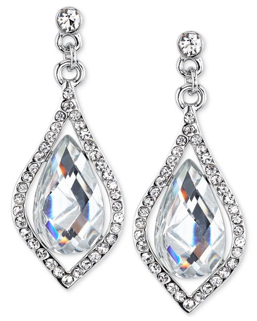 2028 | Metallic Silver-tone Caged Jet Stone And Crystal Drop Earrings | Lyst