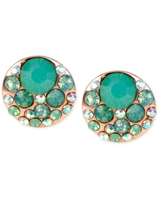 Betsey Johnson | Pink Rose Gold-tone Blue Crystal Stud Earrings | Lyst