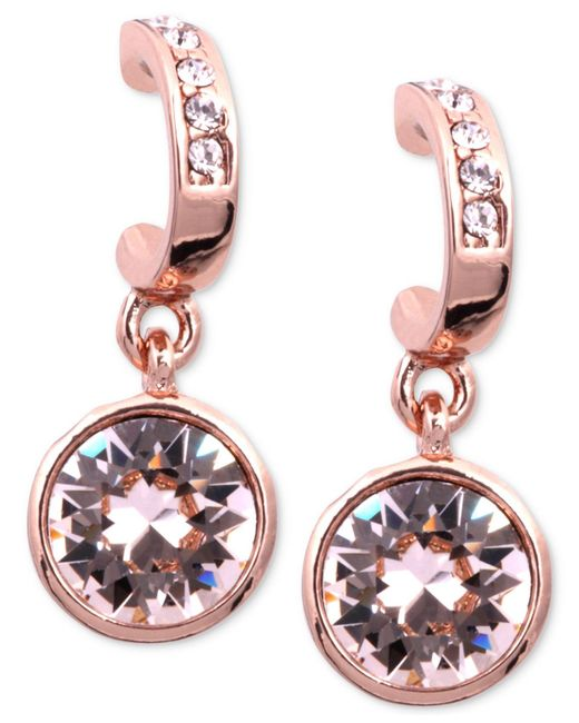Givenchy | Pink Earrings, Rose Gold-tone Swarovski Silk Crystal Drop Earrings | Lyst