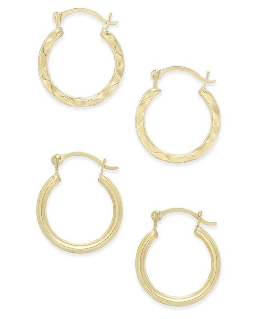 Macy's | Metallic Duo Set Of Small Round Hoop Earrings In 10k Gold | Lyst