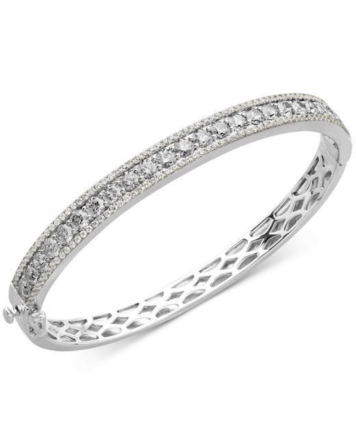 Arabella | Metallic Sterling Silver White Swarovski Zirconia Bangle Bracelet (9-1/3 Ct. T.w) | Lyst