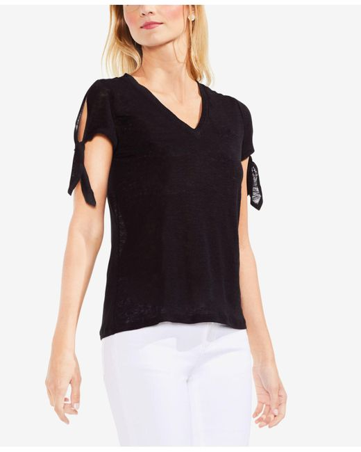 Vince Camuto - Black Cotton Tie-sleeve T-shirt - Lyst