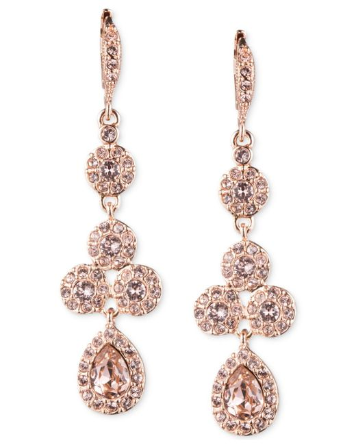 Givenchy | Pink Rose Gold-tone Swarovski Element Linear Drop Earrings | Lyst
