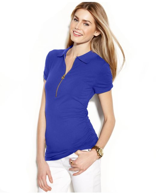 Michael Kors | Blue Michael Ruched Polo Top | Lyst