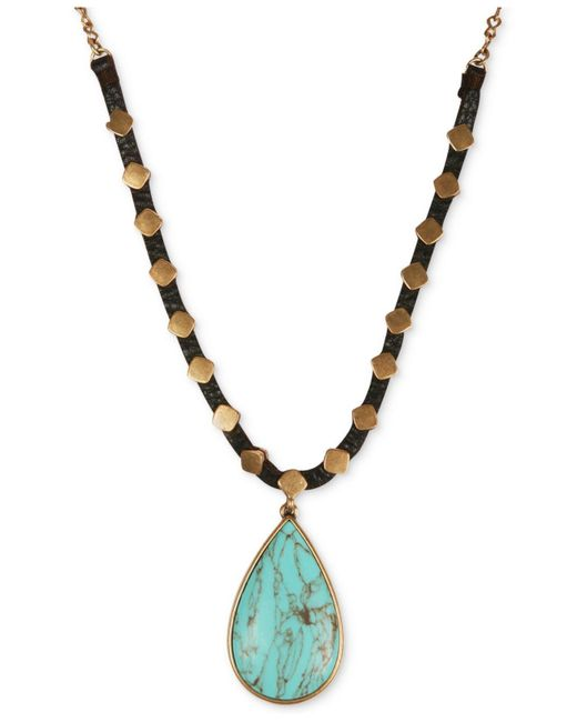 Lucky Brand | Metallic Gold-tone Reconstituted Turquoise Pendant Leather Necklace | Lyst
