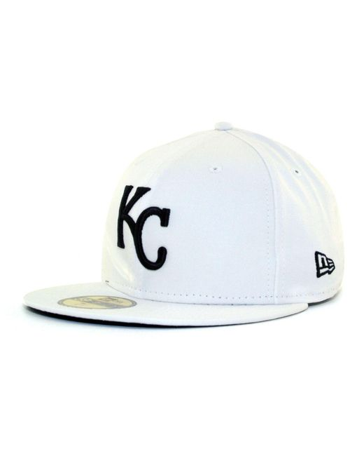 KTZ | Kansas City Royals Mlb White And Black 59fifty Cap for Men | Lyst